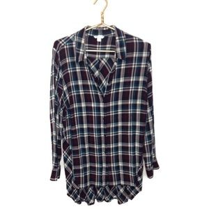 Plaid Long Sleeve Button Up Top | 18/20W